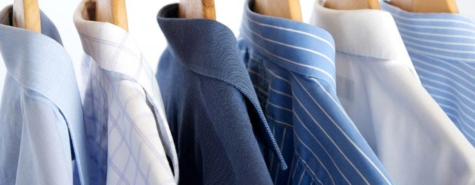 Household shirts hung on a rail